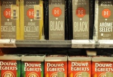 Packets of Douwe Egberts coffee are seen at a supermarket in Amsterdam, April 12, 2013. REUTERS/Toussaint Kluiters/United Photos