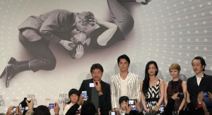 (L-R) Cast member Shogen Hwang, director Hirokazu Kore-eda, cast members Masaharu Fukuyama, Keita Ninomiya, Machiko Ono, Yoko Maki and  Lily Franky pose as they arrive to attend a news conference for the film 'Soshite Chichi Ni Naru' (Like Father, Like Son) at the 66th Cannes Film Festival in Cannes May 18, 2013.  REUTERS/Jean-Paul Pelissier