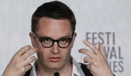 "Director Nicolas Winding Refn speaks during a news conference for the film ""Only God Forgives"" at the 66th Cannes Film Festival in Cannes May 22, 2013. REUTERS/Yves Herman"