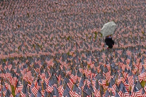 A pedestrian carrying an umbrella walks through a Memorial Day display of United States flags on the Boston Common in Boston, Massachusetts May 23, 2013.   REUTERS/Brian Snyder