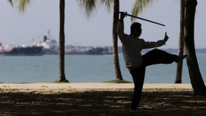 A man practises Tai Chi with a sword at Singapore's East Coast Park April 12, 2011. REUTERS/Tim Chong/Files