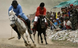 "A player of the Ladakh Scouts Regimental Centre (red) and a player from the Polo Club Drass (blue) fight for the ball during a horse polo match as part of ""Vijay Diwas"" or victory day celebrations in Drass, 160 km (99 miles) east of Srinagar, July 25, 2010. REUTERS/Danish Ismail"