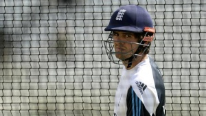 England's captain Alastair Cook looks on during a training session before Wednesday's first test cricket match against India at Trent Bridge cricket ground in Nottingham, July 8, 2014. REUTERS/Philip Brown