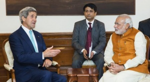 U.S. Secretary of State John Kerry (L) speaks with Indian Prime Minister Narendra Modi (R) at the Prime Minister's residence in New Delhi August 1, 2014. REUTERS/Lucas Jackson