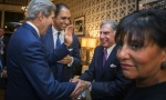 U.S. Secretary of State John Kerry (L) greets Indian businessman Ratan N. Tata with U.S. Secretary of Commerce, Penny Pritzker (R), before a dinner at the U.S. Ambassador's residence in New Delhi July 30, 2014.  REUTERS/Lucas Jackson