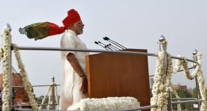 Indian Prime Minister Narendra Modi addresses the nation from the historic Red Fort during Independence Day celebrations in Delhi August 15, 2014. REUTERS/Ahmad Masood/Files