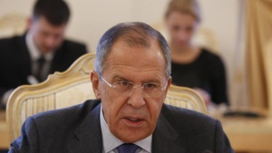 Russia's Foreign Minister Sergei Lavrov addresses his Tunisian counterpart Mongi Hamdi (not pictured) during their meeting in Moscow, September 2, 2014.  REUTERS/Sergei Karpukhin (RUSSIA - Tags: POLITICS)