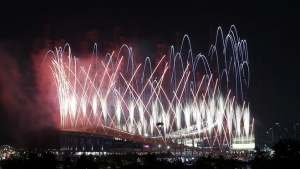 Fireworks explode over the Incheon Asiad Main Stadium during the opening ceremony of the 17th Asian Games September 19, 2014. REUTERS/Kim Hong-Ji