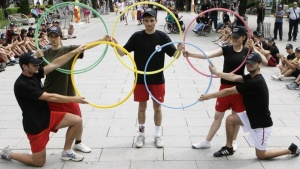 Participants perform during an event organised by Kosovo's Olympic Committee in the capital Pristina June 23, 2012. REUTERS /Hazir Reka/Files