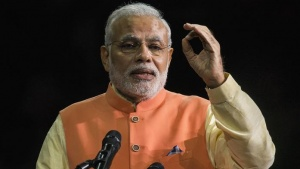 Prime Minister Narendra Modi speaks at Madison Square Garden in New York, during his visit to the United States, September 28, 2014. REUTERS/Lucas Jackson/Files