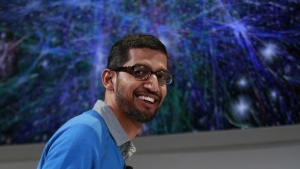 Sundar Pichai, senior vice president at Google, speaks during a Google event at Dogpatch Studio in San Francisco, California, July 24, 2013. REUTERS/Beck Diefenbach/Files