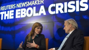 "U.S. Ambassador to the United Nations Samantha Power speaks with Reuters Editor at Large Sir Harold Evans during a Reuters Newsmaker panel discussion,""The Ebola Crisis: How it Arose and What you Need to Know"" in New York October 31, 2014. REUTERS/Mike Segar"