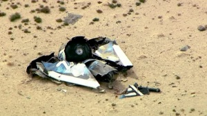 Wreckage from Virgin Galactic's SpaceShipTwo is shown in this still image captured from KNBC video footage from Mojave, California October 31, 2014. REUTERS/KNBC-TV