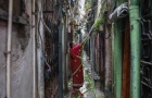 A woman waters the plants outside her house in an alley at a slum in Mumbai October 28, 2014. REUTERS/Danish Siddiqui