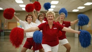 Tommie Sebring, 76, (C) rehearses with the Sun City Poms cheerleader dancers  in Sun City, Arizona, January 7, 2013. Sun City was built in 1959 by entrepreneur Del Webb as America's first active retirement community. One hundred of the residents of Sun City are over the age of 100, more than any other place in the world. Another 2,350 residents are over the age of 85. REUTERS/Lucy Nicholson (UNITED STATES - Tags: SOCIETY)