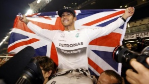 Mercedes Formula One driver Lewis Hamilton of Britain celebrates with his team after winning the Abu Dhabi F1 Grand Prix at the Yas Marina circuit in Abu Dhabi November 23, 2014. REUTERS/Caren Firouz