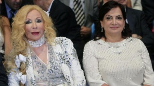 "Lebanese singer and actress Sabah and Wafaa Suleiman (R), wife of Lebanon's President Michel Suleiman, attend ""Sabah, the Musical"" during the opening of Beiteddine Festival in Beiteddine village, Mount Lebanon, June 24, 2011.REUTERS/ Mohamed Azakir/Files"