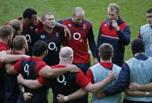 Rugby Union - England Training - Pennyhill Park Hotel, Bagshot, Surrey - 10/2/16 England's players listen to Referee Wayne Barnes during training  Action Images via Reuters / Paul Childs Livepic