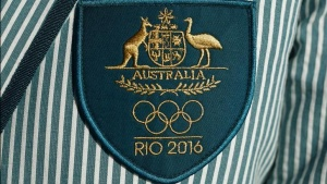 The official Australian Olympic 2016 team crest is pictured on a blazer jacket of an athlete going to the 2016 Olympics in Rio at an official unveiling ceremony at Sydney's Bondi Beach, March 30, 2016. REUTERS/Jason Reed