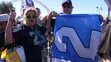 Super Bowl fans create party atmosphere, make game predictions