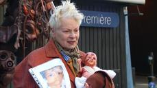 Vivienne Westwood shows off 'fracked baby' at protest
