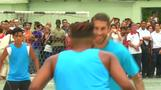 Sergio Ramos plays soccer with Cuban teens