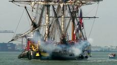 A replica French warship docks in New York City