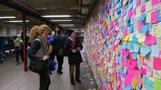 NYC builds sticky notes wall in defiance of Trump