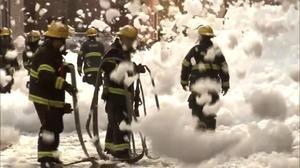 Foam blankets Philadelphia street after explosion