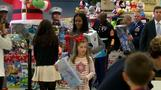 First Lady Michelle Obama rallies troops at Toys for Tots event