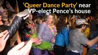 Gay rights activists dance in protest against VP-elect Pence