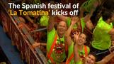 Revelers hurl tomatoes at each other in Spanish festival