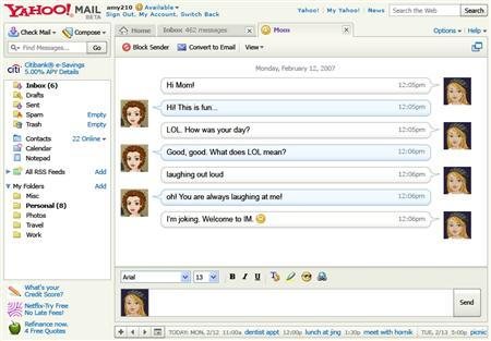 Yahoo's embedded email instant messaging features are shown in this undated screengrab handout. Yahoo Inc., the world's largest consumer e-mail provider, on Monday said it has embedded instant messaging features inside its e-mail program, bridging a generational divide that has confused many users. REUTERS/Handout