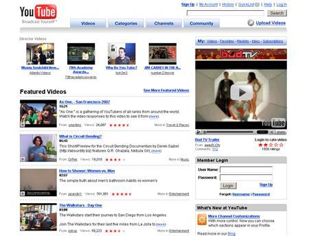 A screenshot of YouTube.com, taken on February 21, 2007. Google Inc., racing to head off a media industry backlash over its video Web site YouTube, will soon offer anti-piracy technologies to help all copyright holders thwart unauthorized video sharing, its chief executive said on Wednesday. REUTERS/www.youtube.com