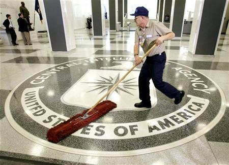 The logo of the Central Intelligence Agency is swept clean in the lobby of the CIA headquarters in Langley in a file photo. The U.S. will not meet any request by Italy to extradite 26 Americans, most thought to be CIA agents, to stand trial over the kidnapping of a Muslim cleric, the State Department's legal adviser said on Wednesday. REUTERS/Jason Reed