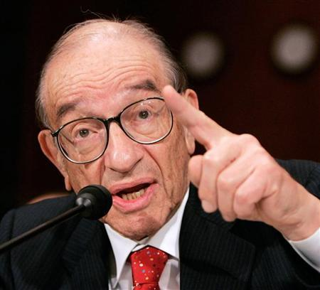 Former Chairman of the U.S. Federal Reserve Alan Greenspan testifies during his final scheduled testimony before the Senate Banking Committee on Capitol Hill in Washington in this July 21, 2005 file photo. Greenspan was quoted as seeing a ''one-third probability'' of recession in the United States this year, according to an interview with Bloomberg. REUTERS/Larry Downing/File
