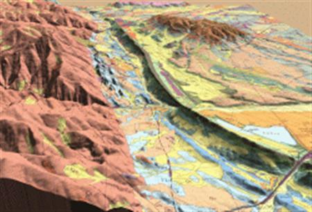 A geologic map draped over a Digital Elevation Model (DEM) image in an oblique view of Golden, Colorado. Rock scientists from across the world will start next week to put together the first geological map of earth in a bid to better understand the planet. REUTERS/Colorado Geological Survey/USGS/Handout