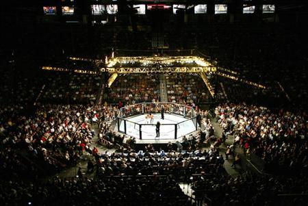 In this file photo, Nick Diaz and Josh Neers fight in the octagon during their Ultimate Fighting Championship welterweight bout at UFC 62 at Mandalay Bay in Las Vegas, Nevada August 26, 2006. Ultimate fighting has shed its no-holds-barred image and reinvented itself as exciting and safe to become one of the fastest growing spectator sports in the United States. REUTERS/Tiffany Brown