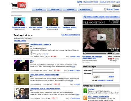 A screenshot of YouTube.com, taken on March 13, 2007. Media conglomerate Viacom Inc. said on Tuesday it filed a $1 billion lawsuit against Google Inc. and its Internet video sharing site YouTube over unauthorized use of its copyrighted entertainment. REUTERS/www.youtube.com