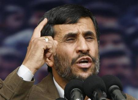 Iranian President Mahmoud Ahmadinejad speaks at an event to mark the anniversary of the 1979 Islamic revolution in Tehran, February 11, 2007. Iran said on Friday no amount of U.N. pressure would deter it from its nuclear program, a day after major powers agreed a plan to impose new sanctions. REUTERS/Morteza Nikoubazl