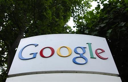 The logo of Google Inc. is seen outside their headquarters building in Mountain View, California August 18, 2004. GA U.S. judge has thrown out a lawsuit challenging the fairness of how Web search leader Google Inc. calculates the popularity of Web sites in determining search results, court papers show.. REUTERS/Clay McLachlan
