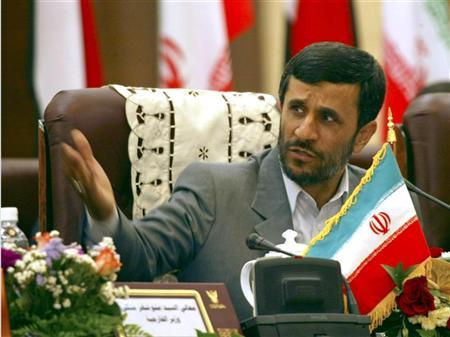 A file photo of Iran's President Mahmoud Ahmadinejad speaking upon his arrival at the Khartoum airport February 28, 2007. Ahmadinejad accused some major powers on Wednesday of waging psychological war on Iran, saying they had made a film designed to portray Iranians as savage. REUTERS/Mohamed Nureldin