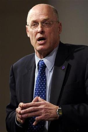 File photo of U.S. Treasury Secretary Henry Paulson addressing reporters at a news conference as part of the World Bank and International Monetary Fund spring meetings in Washington, April 13, 2007. REUTERS/Jonathan Ernst