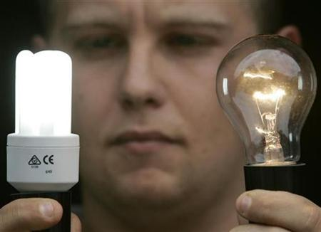 Electrical salesman Dave Ehret poses with an old-style incandescent light bulb (R) and a new energy-saving compact florescent bulb (L) at a warehouse in Sydney, Australia, February 27, 2007. Canada will ban the sale of inefficient incandescent light bulbs by 2012 as part of a plan to cut down on emissions of greenhouse gases, Natural Resources Minister Gary Lunn said on Wednesday. REUTERS/Will Burgess