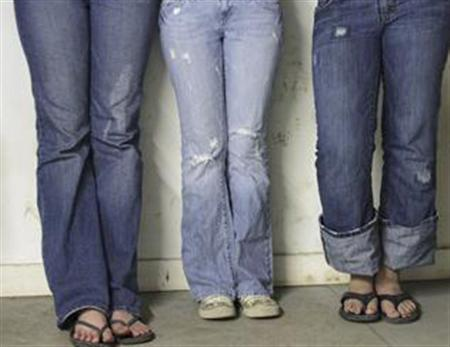 Blue denim jeans in a file photo. Jeans factories have given jobs to thousands in the city of Tehuacan, the heartland of Mexico's denim industry, but they are pumping blue chemicals into rivers used to irrigate corn fields downstream. REUTERS/File