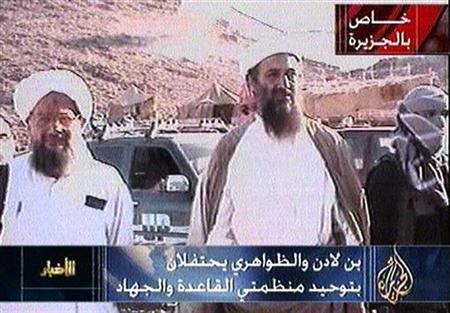 A still image taken from al-Jazeera television archive video shows Osama Bin Laden and top aide Ayman al-Zawahri (L) at an unidentified location at an unknown date. An anti-U.S. Afghan rebel leader said he had information that Osama bin Laden is alive but keeping a low profile by not issuing statements, according to a video aired on Sunday. REUTERS/al-Jazeera Television/HO