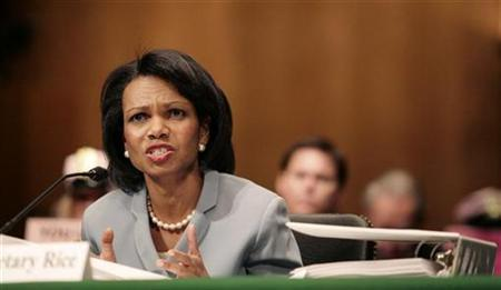 A file photo of Secretary of State Condoleezza Rice testifying before the Senate Appropriations Foreign Operations Subcommittee on Capitol Hill, May 10, 2007. Rice, who arrived in Moscow for talks on Monday, said she did not like Russia's rhetoric towards the United States but there was no basis for talk of a new Cold War. REUTERS/Molly Riley