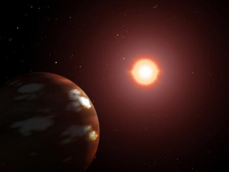 An artist's rendition of a planet (L) circling the M-dwarf star GJ 436. An odd planet the size of Neptune, made mostly of hot, solid water, has been discovered not far from Earth and offers evidence that other planets may be covered with oceans, European astronomers reported on Wednesday. REUTERS/NASA/Handout