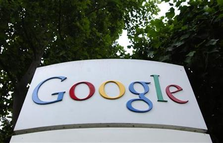 The logo of Google Inc. is seen outside their headquarters building in Mountain View, California August 18, 2004. A U.S. appeals court ended a preliminary injunction on Wednesday against Google Inc.'s . image-search service from displaying thumbnail-sized photos from a sexually explicit site. REUTERS/Clay McLachlan
