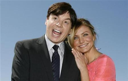 Cast member Mike Myers, who gives the voice to ''Shrek'', poses with co-star Cameron Diaz, who gives the voice to ''Princess Fiona'', at the premiere of ''Shrek the Third'' in Los Angeles, May 6, 2007. REUTERS/Mario Anzuoni